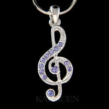 w Swarovski Crystal Lilac Purple TREBLE g CLEF Musical music NOTE Charm Necklace