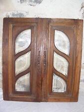 Paire de portes de vitrine en chêne, vitres biseautées, façade, bibliothèque