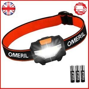 LED Head Torch, OMERIL Lightweight COB Headlamp with 3 Modes, IPX4 Waterproof...