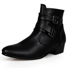 Mens Pointed Toe Buckles High Top Ankle Boots Cuban Heels Casual Shoes Clubwear@