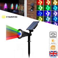 Solar Powered LED Spotlight Garden Flood Light  Wall Light RGB Color changing UK