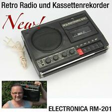 RETRO KASSETTENSPIELER RADIO FM RECORDER TAPE CASSETTE ELECTRONICA RM-201
