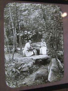 Glass Magic Lantern Slide 1905 Women Relaxing by Swiftwater Falls PA C. Pancoast
