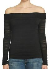 Womens Rich Black Off the Shoulders Top Size L (NWT)