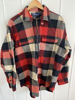 Polo Ralph Lauren Mens Buffalo Plaid 1/2 Zip Heavy Cotton Long Sleeve Shirt Sz L