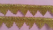 2 Yards Gold Lace Trim Gold Fringe Tassel Tassle Trim 1.25 Inches Wide