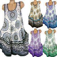 Plus Size Womens Midi Dress Floral Loose Summer Long Tops Tunic Kaftan Sundress