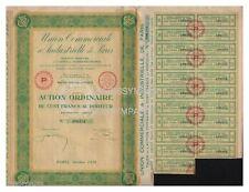ACTION  100 FR UNION COMMERCIALE & INDUSTRIELLE DE PARIS 1928 (réf 1)