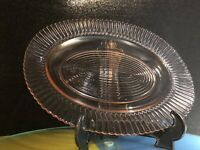 Large Pink Glass Oval Shaped Serving Platter Plate-.