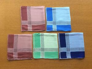 5x New Vintage 100% Silk Handkerchiefs, Pocket Squares, Mens, Unisex 1930s-50s