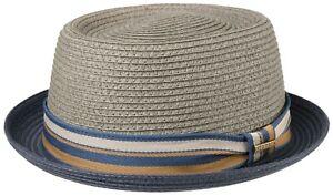 Stetson Sun Guard Summer Toyo Straw Hat Pork Pie Hat Licano 35 Blue Olive New