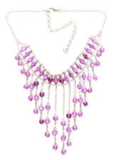Opulent & Charming Pink Plastic Crystal & Bronze Chain V Fringed Necklace(Zx220)