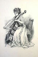 C.D. Gibson Girl PLAYING BASS VIOLIN CELLO 1909 LTD EDITION PORTFOLIO Art Matted