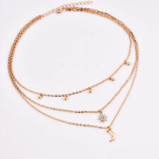 Women Fashion Jewelry Multi Layer Necklace Beads Choker Chain Star Moon Pendant