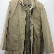 Blazer Sport Coat DKNY Jacket Tan White Pin Stripe Small Mens Zip Up