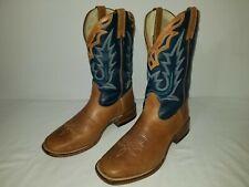 BOULET 6200 Tan & Blue Square Toe Western Cowboy Boots Men's Size 9.5 D