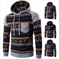 Men Boy Bohemia Geometric Hoodie Sweatshirt Hooded Pullover Jacket Coat Outwear