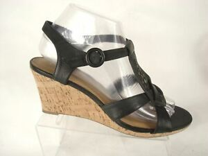 "Clarks Wedge Heel 3"" Sandal Ankle T-Strap Stud Black Leather US 8 M Open Toe"
