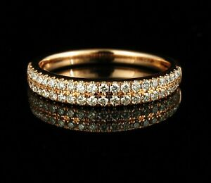 ZALES SIGNED NATURAL 1/2ctw DIAMOND SOLID 14K ROSE GOLD 3.2MM WIDE BAND RING