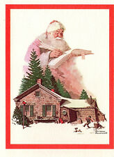 Vintage NORMAN ROCKWELL'S SANTA'S LIST XMAS Greeting CARD Boy Scout Fundraiser