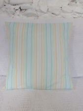 Cushion Cover, Cute Stripes, Blue, Green, Peach, Aqua, White, Pure Cotton.