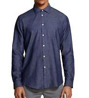 DKNY Mens Shirt Indigo Blue Size Medium M Button Down Classic Fit $79- 434