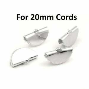 10 pcs. Silver Tone Half Round Ribbon Crimp End Caps - 20mm x 12mm
