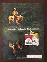Vintage 1977 Original Print Ad MARLBORO CIGARETTES Red or Longhorn 100's COUNTRY