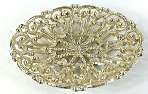 Gilded Metal Soap Dish Hollywood Regency Style