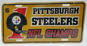 Vintage Pittsburgh Steelers NFL Champs License Vanity Plate New Sealed