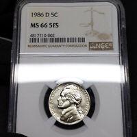 1986-D MS66 FS Jefferson Nickel 5c, NGC Graded Full Steps