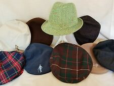 Lot of 9 Men's Hats and Caps Newsboy Berets Fedora Lot Of 9 Some Vtg Wool Cotton