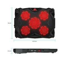 Laptop Cooling Pad 14-17 Inch 5 Red Led Fans Adjustable Hight 2 USB Ports Black