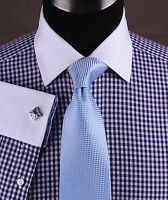 Navy Blue Gingham Check Formal Business Dress Shirt White Contrast Spread Cuff