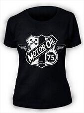 Womens Motor Oil T-Shirt SCREENPRINTED ladies retro biker vintage bike grunge