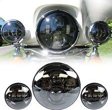 """7"""" Black LED Projector Daymaker Headlight & Passing Lights Fit Harley Davidson"""