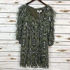 New Tibi Silk Dress Size 4 Green Sheer Ruffle Sleeves Mini Lined FLAWED