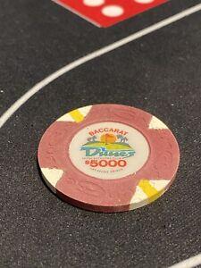 $5000 Las Vegas Dunes Baccarat Oversized Casino Chip - UNCIRCULATED Very Rare