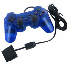 2017 Blue Twin Shock Game Controller Joypad Pad for Sony PS2 Playstation 2
