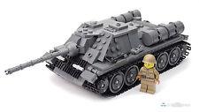 WW2 Russischer Panzer SU-85 + Soldat, Custom Tank Russian, aus LEGO® Steinen