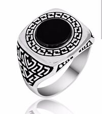 Bague Chevalière Homme Argent massif 925 Serti onyx Noir 7.5gr Silver Men Ring