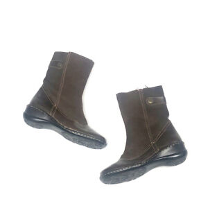 Lassen Womens 6 M Brown Mid Calf Boots Leather Suede Wedge Comfort Buckle