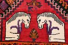 Vintage Geometric Tribal Horse Pictorial Abadeh Lori Area Rug Hand-made Wool 5x9