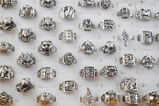 Wholesale 10ps Men Tibet Silver Copper Rings Grotesque Style Biker Rings 17-22mm