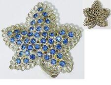 broche bijou vintage couleur argent cristaux facette couleur bleu saphir * 4766