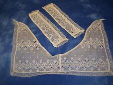 Beautiful Ladies Handmade Vintage-Antique (3 Piece) White Lace Collar & Cuffs #2