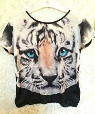 H&M Vibrant Silky Black & White Tiger Head Bold Close Up Face T-Shirt Top Small