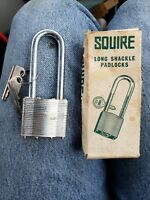 Vintage Squire Long Shackle Padlock Made in England No. 37 Hardened with Box