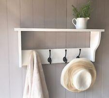 WHITE Traditional COAT RACK with shelf 4 HOOKS vintage style shabby / chic