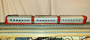 Lionel O Scale Pre-War Articulated Tin Plate Train. 3 Car Set. Junior Zephyr
